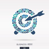 Business color icons in target shape abstract background: vector illustration.