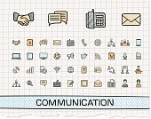 Communication hand drawing line icons. Vector doodle pictogram set