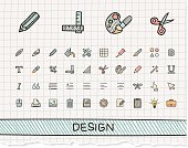 Design tools hand drawing line icons. Vector doodle pictogram set