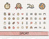 Sport hand drawing line icons. Vector doodle pictogram set