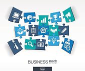 Abstract business background, connected color puzzles, integrated flat icons