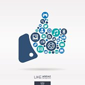 Social media icons in like shape abstract background: vector illustration.