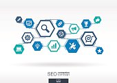 SEO network. Hexagon abstract background with lines, polygons, integrate icons.