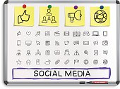 Social media hand drawing line icons.
