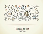 Social media hand draw integrated doodle icons. Vector sketch illustration.