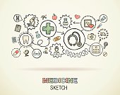 Medicine hand draw integrated doodle icons set. Vector sketch illustration.