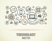 Technology hand draw integrated doodle icons set. Vector sketch illustration.
