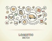 Logistic hand draw integrated doodle icons set. Vector sketch illustration.