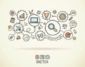 SEO hand draw integrated doodle icons set. Vector sketch illustration.