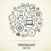 Technology hand draw connected sketch icons. Vector doodle infographic illustration