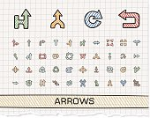 Arrows hand drawing line icons. Vector doodle pictogram set