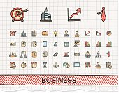 Business hand drawing line icons. Vector doodle pictogram set