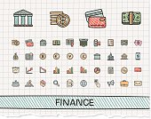 Finance hand drawing line icons. Vector doodle pictogram set