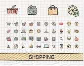 Shopping hand drawing line icons. Vector doodle pictogram set