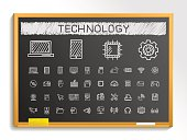 Technology hand drawing sketch icons set. Vector doodle blackboard illustration