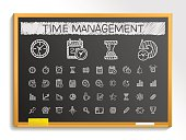 Time management hand drawing sketch icons. Vector doodle blackboard illustration