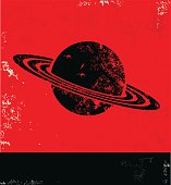 Saturn design on red poster,vector