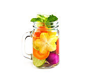 Mug delicious refreshing drink of mix fruits, infusioned water