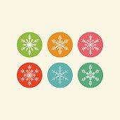 Snowflakes On Coloured Circles