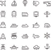 Transport icons Outline Stroke on White Background