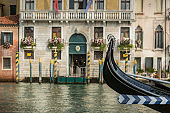 Gondolas moored in the grand canal in Venice, Italy