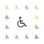 disabled flat icons set