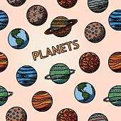 hand drawn planet pattern with - mercury, venus, earth, mars
