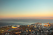 Cape Town Stadium and V&A Waterfront from above, South Africa