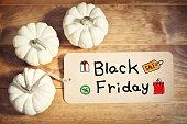 Black Friday message with orange pumpkin