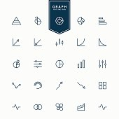 25 graph and diagram minimal line icons