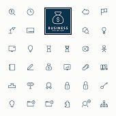 32 web and business line icons