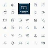 32 web and business minimal line icons