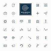 32 web and business minimal outline icons