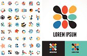 Collection of abstract icons and symbols