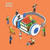 Audio books isometric flat vector concept.