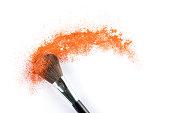 orange Powder Eyeshadow on a Brush, fashion beauty