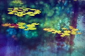 Digital art, colorful paint effect, Lotus water lily garden pond