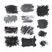 Set of grunge blots. Hand drawn illustration.