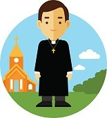 Catholic priest on church background in flat style
