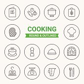 Set of round and outlined cooking icons