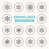 Set of round and outlined snowflakes icons