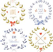 Set of wreaths for the Valentine's day
