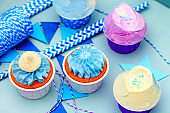 Sweet holiday decoration with vivid cupcakes