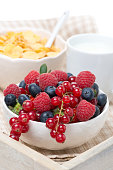 fresh berries, corn flakes and milk on a tray, close-up