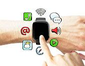 hand pushing smart watch