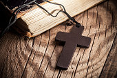 Closeup of wooden Christian cross