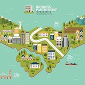 Infographic business partnership shape template design.business success concept vector