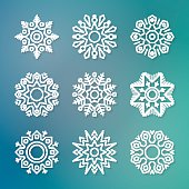 Christmas flat line vector snowflakes with shadows on blurred background