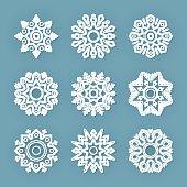 Christmas flat line vector snowflakes set