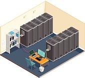 Isometric server room.